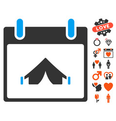 camping calendar day icon with dating bonus vector image vector image