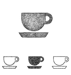 Coffee icon set - sketch line art vector image