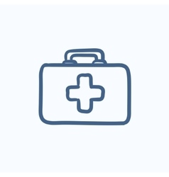 First aid kit sketch icon vector image