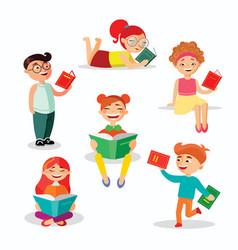 children reading books set of vector image
