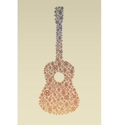 Music poster with guitar made of folk ornament vector