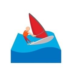 Sailing yacht race cartoon icon vector image
