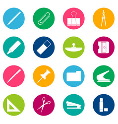 set of white stationery icons on color background vector image