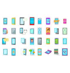 smartphone icon set cartoon style vector image
