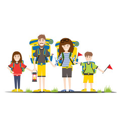 tourists with backpacks isolated on white camping vector image