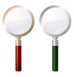 two magnifying glass isolated on white background vector image vector image