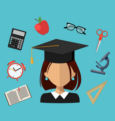 back to school set of flat simple design icons vector image vector image
