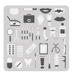 flat icons dental set vector image