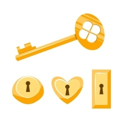 Keys gold cartoon Isolated on vector image vector image