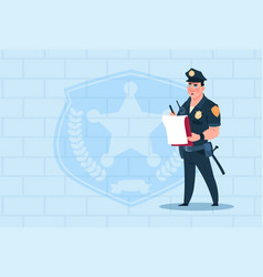 policeman writing report wearing uniform cop guard vector image