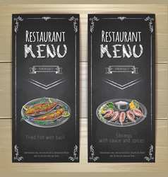 Set of restaurant menu chalk drawing banners vector