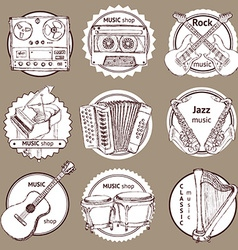 Sketch set of logo with musical instruments vector image vector image