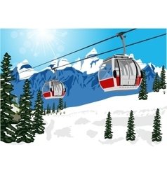 wonderful winter scenery with ski lift cable booth vector image vector image