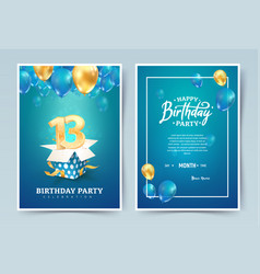 13th years birthday invitation double card vector