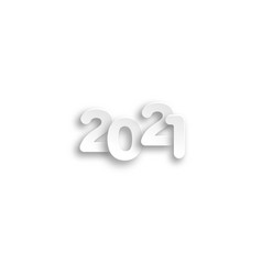 2021 logo paper cut numbers in white color vector image