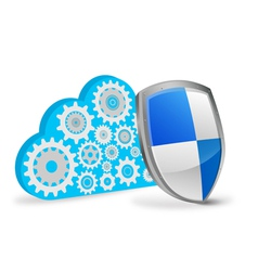 3d cloud computing with protection shield vector image vector image