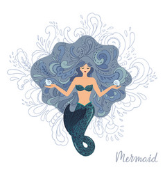 A meditating mermaid vector