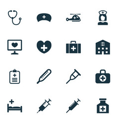 Antibiotic icons set collection of peck retreat vector