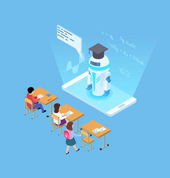 artificial intelligence in education isometric vector image