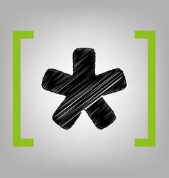 Asterisk star sign black scribble icon in vector