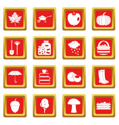 Autumn icons set red vector