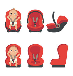 Baby boy sitting in automobile seat vector