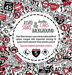 Background of doodles traffic signs and cars vector