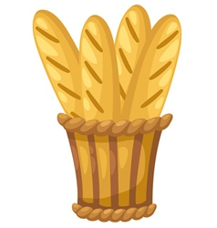 Baguette in basket vector