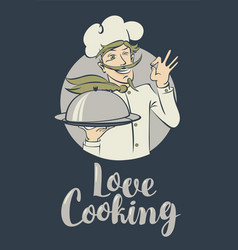 Banner with words love cooking and winking chef vector