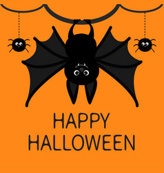 Bat hanging spider dash line web happy halloween vector