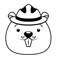 beaver face with hat cartoon character vector image