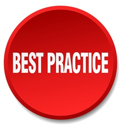 Best practice red round flat isolated push button vector