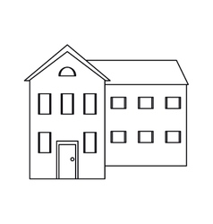 Big house and many windows outline vector