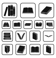 Book in the binding black icons in set collection vector