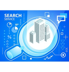 Bright search glass and buildings on blue ba vector