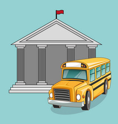 Building bus school design vector