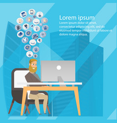 business freelance man sharing ideas banner vector image