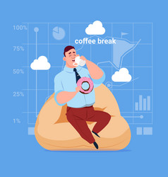 business man having lunch during coffee break in vector image