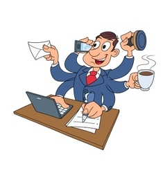 Busy businessman working 2 vector