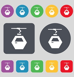 Cableway cabin icon sign A set of 12 colored vector