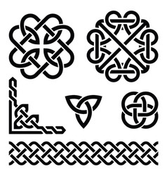 Celtic Irish knots braids and patterns vector image