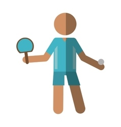 Character ping-pong player with racket ball vector