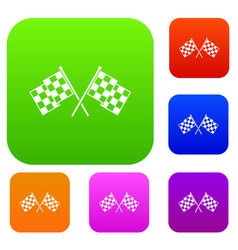 checkered racing flags set collection vector image