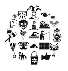 Children entertainment icons set simple style vector