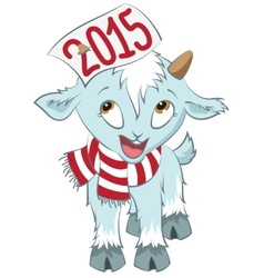 Christmas goat hold on the horn symbol 2015 vector