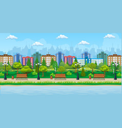 City park and pond vector
