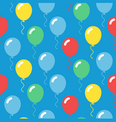 colorful balloons seamless simple pattern on blue vector image