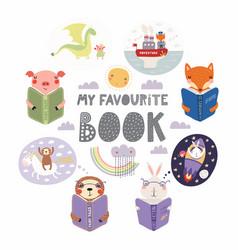Cute animals reading books set vector