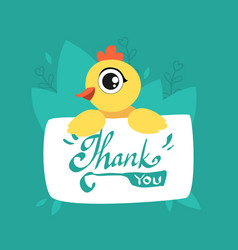 cute chicken holding card with thank you massage vector image