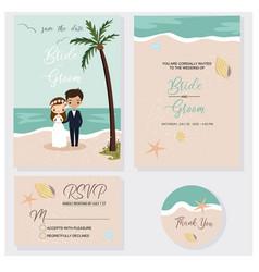 Cute couple in beach wedding invitations theme set vector